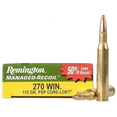 Remington Managed Recoil 270 Winchester Ammo 115 Gr Core-Lokt PSP