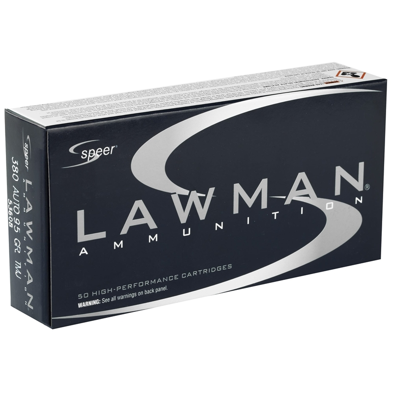 Speer Lawman 380 ACP AUTO Ammo 95 Grain Total Metal Jacket