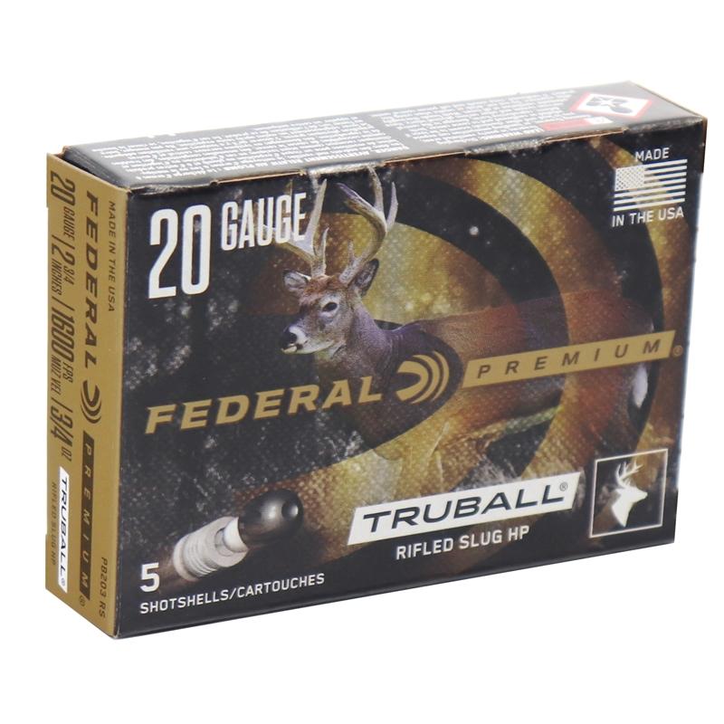 "Federal Premium Vital-Shok Ammunition 20 Gauge 2 3/4"" 3/4oz. Lead Rifle Slug Box of 5"