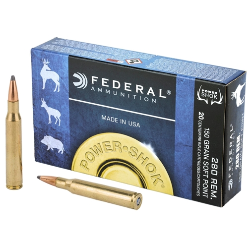 Federal Power-Shok 280 Remington Ammo 150 Grain Soft Point