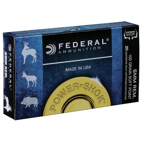 Federal Power-Shok 6mm Remington Ammo 100 Grain Soft Point