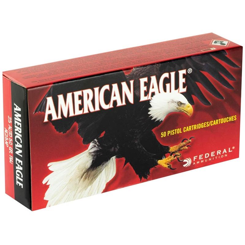 Federal American Eagle 25 ACP AUTO Ammo 50 Grain FMJ