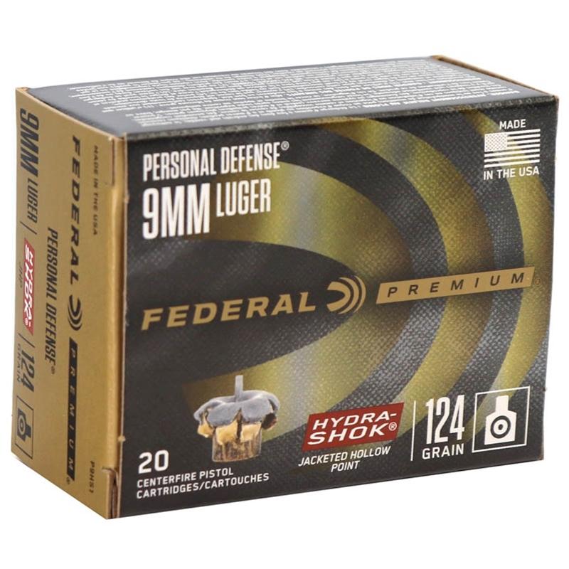 Federal Personal Defense 9mm Luger Ammo 124 Grain Hydra-Shok JHP