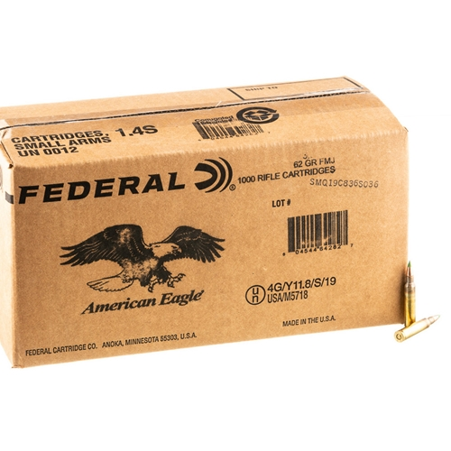 Federal American Eagle 5.56mm NATO Ammo 62 Grain FMJ Grn Tip Bulk