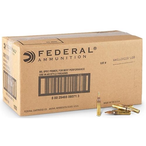 Federal Lake City 5.56mm NATO Ammo 55 Grain FMJ 1000 Rds Bulk