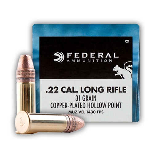 federal game shok 22 long rifle ammo hyper velocity 31 grain plhp