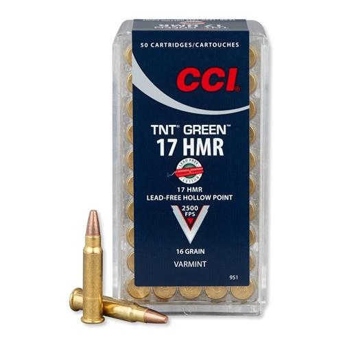CCI 17 HMR Ammo 16 Grain Speer TNT Green Hollow Point Lead Free