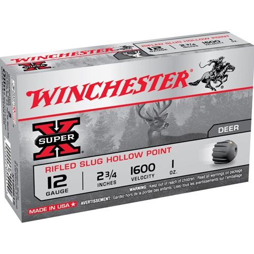"Winchester Super-X Ammunition 12 Gauge 2-3/4"" 1 oz Rifled Slug Box of 5"