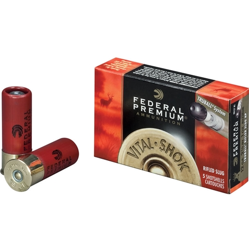 "Federal Premium Vital-Shok Truball Ammunition 12 Gauge 2 3/4"" 1oz. Lead Rifle Slug Box of 25"
