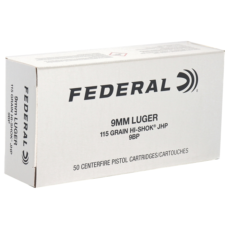Federal Classic 9mm Luger Ammo 115 Grain Hi-Shok JHP