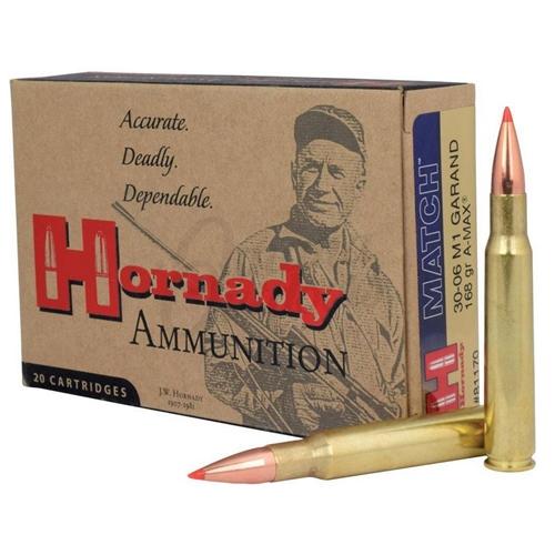 Hornady Match 30-06 Springfield M1 Garand 168 Gr Hornady A-Max BT