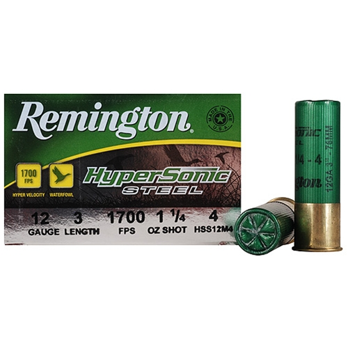 "Remington HyperSonic 12 Gauge 3"" 1-1/4 oz #4 Non-Toxic Steel Shot"