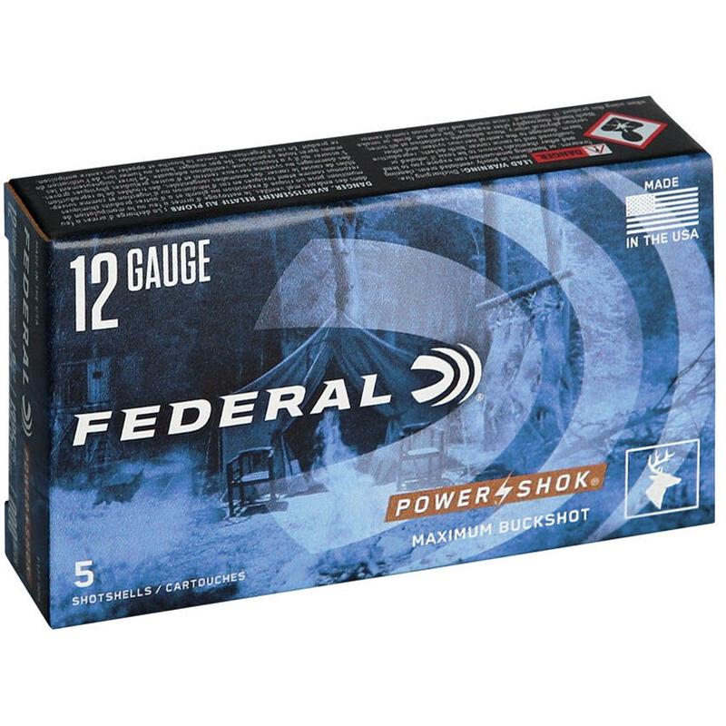"""Federal Power-Shok 12 Gauge 2-3/4"""" Buffered 000 Buckshot 8 Pellets Ammunition"""