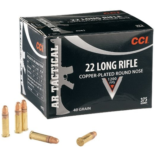 CCI AR Tactical 22 Long Rifle Ammo 40 Grain Copper Plated RN