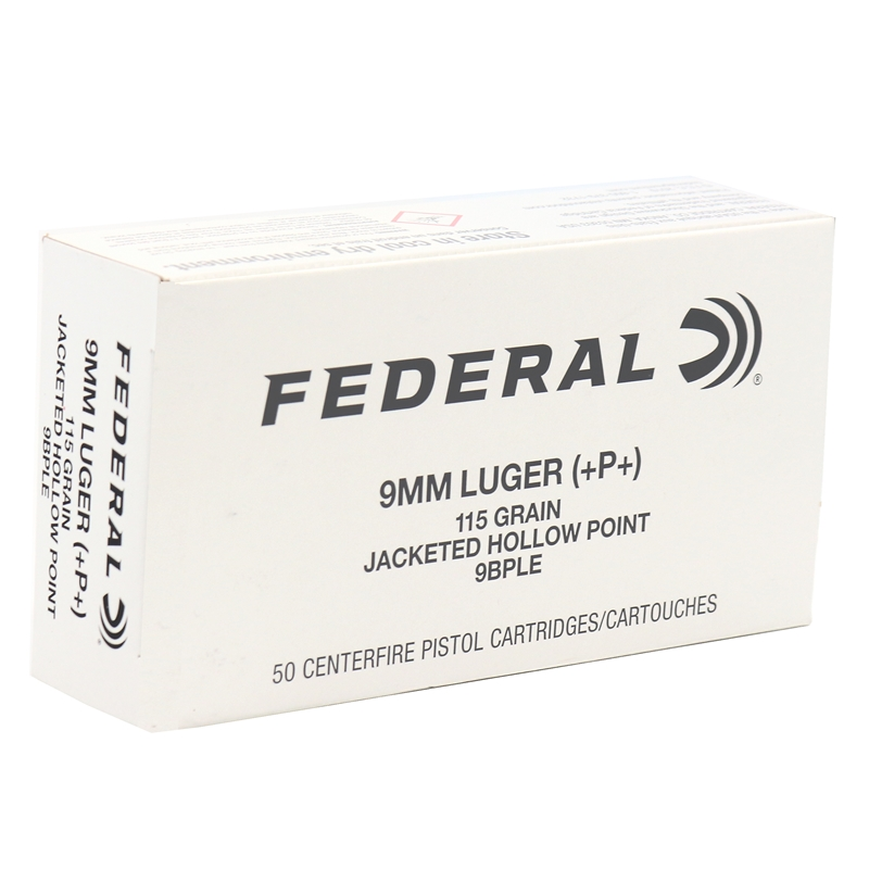 Federal Law Enforcement 9mm Luger Ammo 115 Grain +P+ JHP
