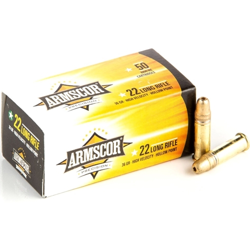 Armscor USA 22 Long Rifle Ammo 36 Grain Subsonic Hollow Point