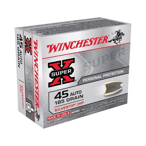 Winchester Super-X 45 ACP AUTO 185 Grain Silvertip Hollow Point