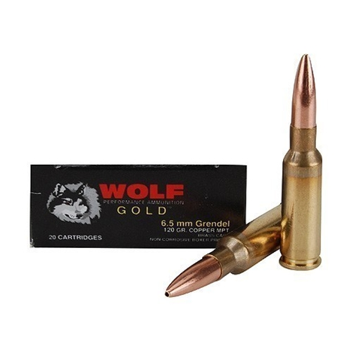 Wolf Gold 6.5 Grendel Ammo 120 Grain Multi Purpose Tactical Hollow Point