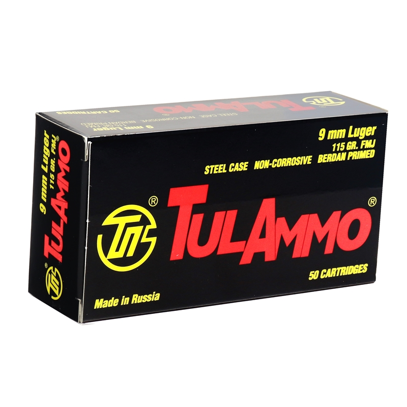 Tul Ammo 9mm Luger Ammo 115 Grain FMJ Steel Case