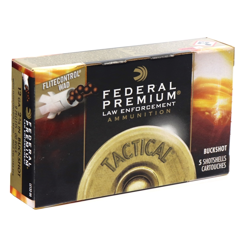 "Federal Law Enforcement Tactical 12 Gauge Ammo 2-3/4"" 00 Buckshot 9 Pellets"
