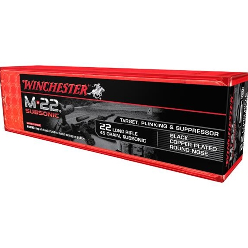 Winchester M-22 22 Long Rifle 45 Gr Black Plated Lead Round Nose