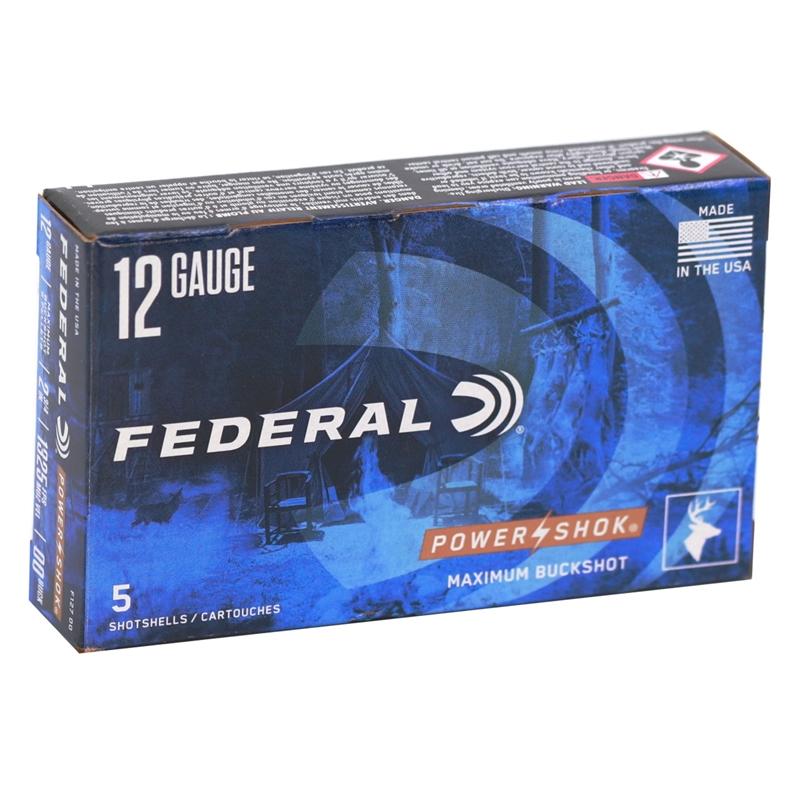 "Federal Power-Shok 12 Gauge Ammo 2-3/4"" 00 Buckshot 9 Pellets"