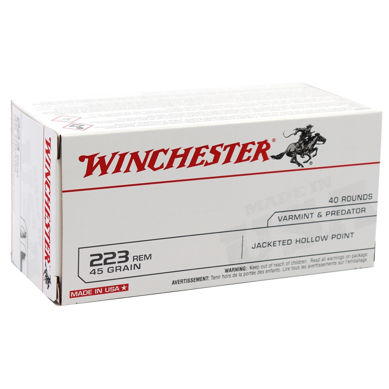 Winchester USA 223 Remington Ammo 45 Grain Jacketed Hollow Point Value Pack