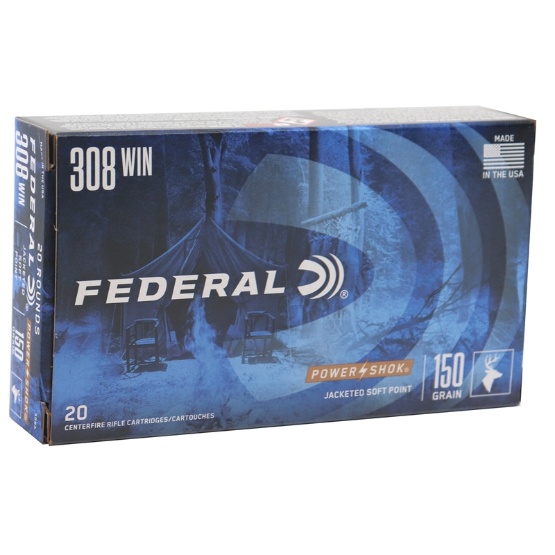 Federal Power-Shok 308 Winchester Ammo 180 Grain SP