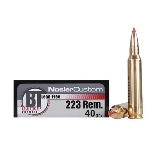 Nosler Trophy Grade 223 Remington 40 Grain Ballistic Tip Varmint Lead-Free Ammunition