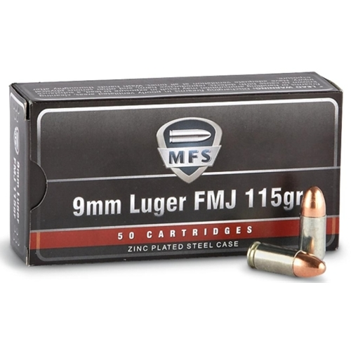 MFS 9mm Luger Ammo 115 Grain Full Metal Jacket