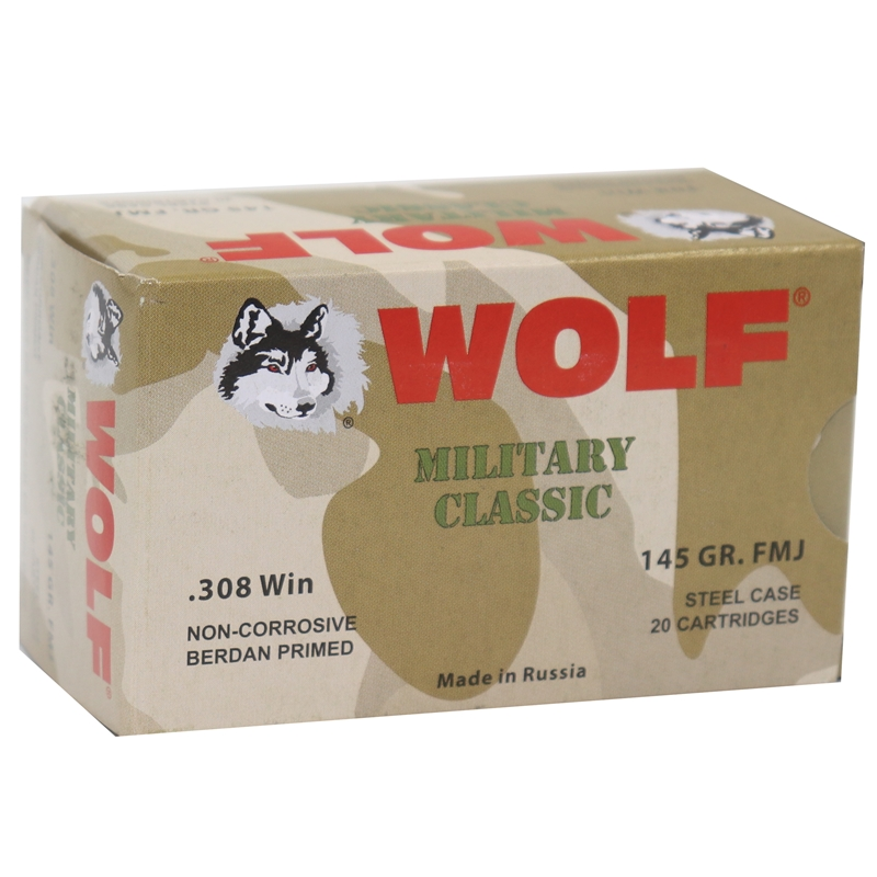 Wolf Military Classic 308 Winchester Ammo 145 Grain FMJ Steel Case