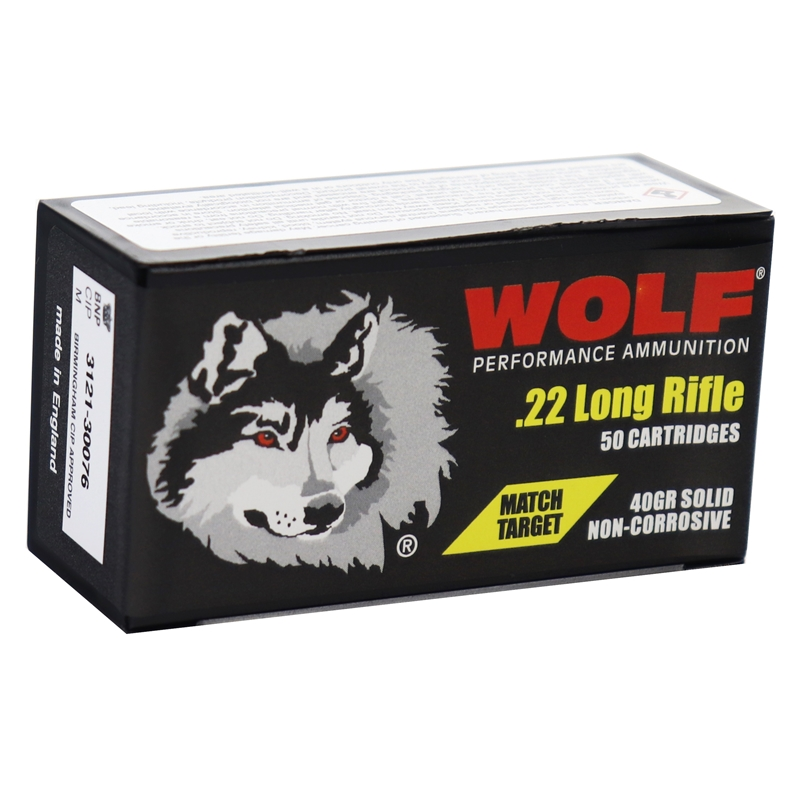 Wolf Match Target 22 Long Rifle Ammo 40 Grain Lead Round Nose