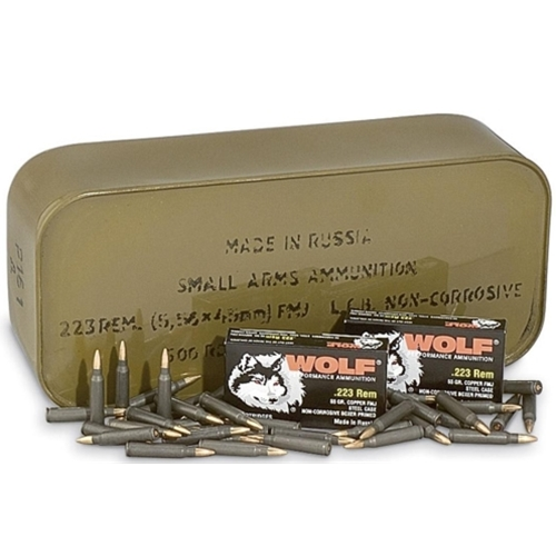 Wolf Poly 5.56mm Ammo 55 Gr FMJ Steel Case 500 Rds in Tin