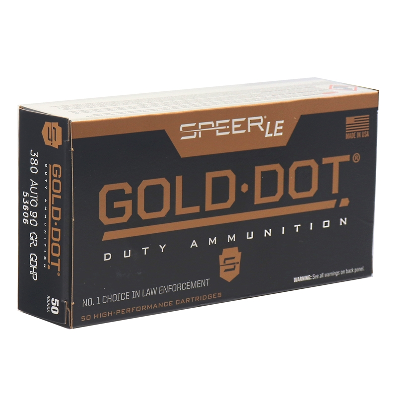 Speer Gold Dot LE Duty 380 ACP AUTO Ammo 90 Grain JHP