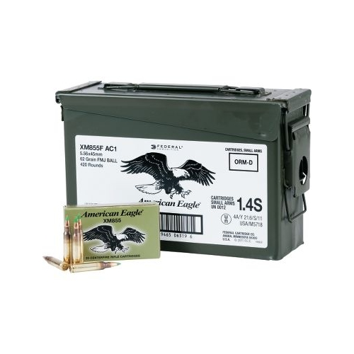 Federal American Eagle 5.56mm Ammo M855 62 Grain FMJ 420 in Can