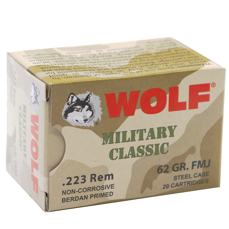Wolf MC 223 Remington Ammo 62 Grain FMJ Steel Case