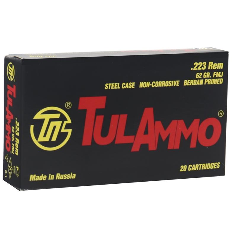 TulAmmo 223 Remington Ammo 62 Grain FMJ Steel Case