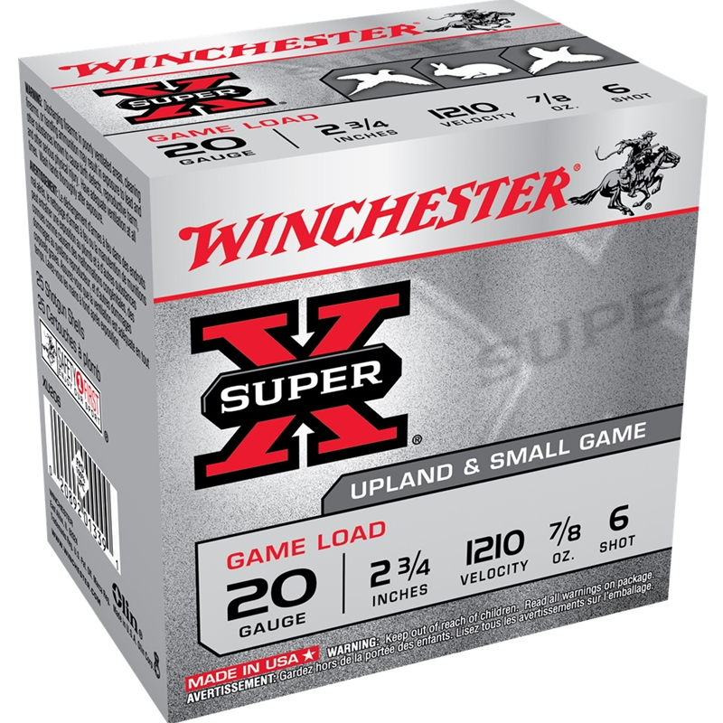 "Winchester Super-X 20 Gauge 2 3/4"" 7/8oz #6 Shot"