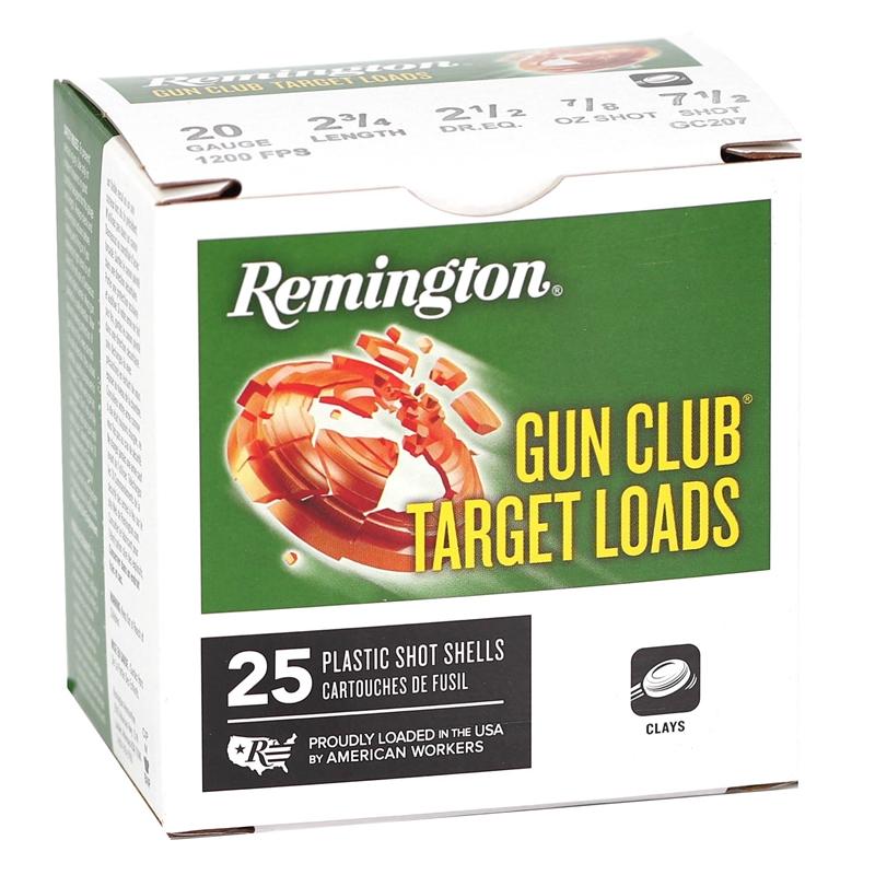 """Remington Gun Club Target 20 Gauge Ammo 2 3/4"""" 7/8oz. #7.5 Shot"""