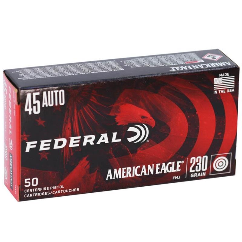 Federal American Eagle 45 ACP Auto Ammo 230 Grain FMJ