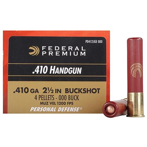 "Federal Personal Defense 410 Gauge Ammo 2 1/2"" 000 Shot 4 Pellets"