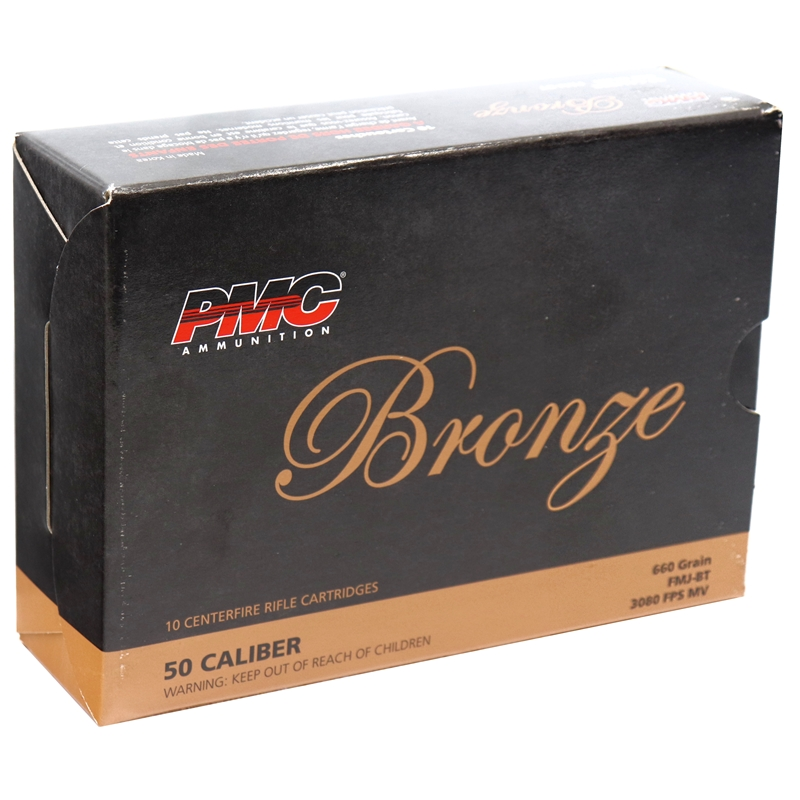 PMC Bronze 50 BMG 660 Grain Ammo Full Metal Jacket BT