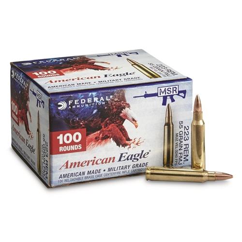 Federal American Eagle 223 Remington Ammo 55 Gr FMJ BT Value Pack