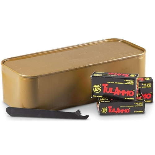 Tul 9mm Luger Ammo 115 Gr FMJ Steel Case 900 Rds in Tin