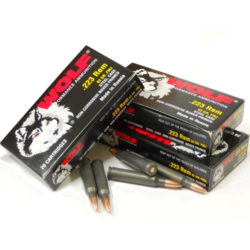 Wolf Polyformance 223 Rem Ammo 55 Gr FMJ Steel Case Bulk