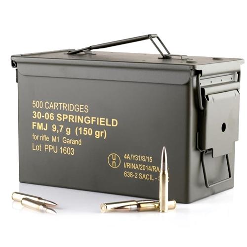 PPU 30-06 Springfield Ammo M1 Garand 150 Gr FMJ 500 Rds Ammo Can