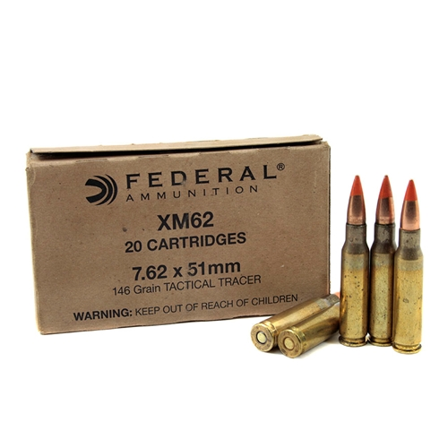 Federal Lake City 7.62x51mm M62 NATO Tactical Tracer 146 Grain Full Metal Jacket