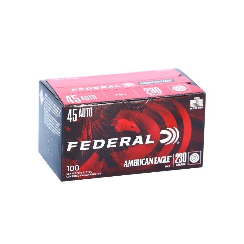 Federal American Eagle 45 ACP Auto Ammo 230 Gr FMJ 100 Rds VP