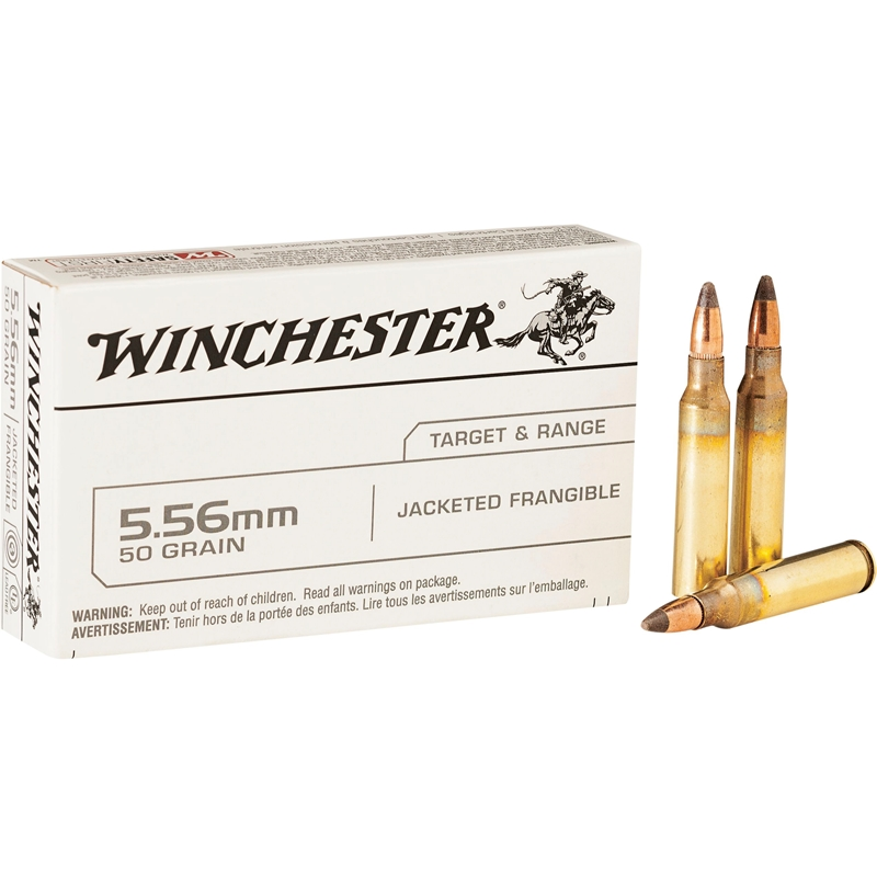 Winchester USA Target 5.56mm NATO Ammo 50 Grain Jacketed Frangible
