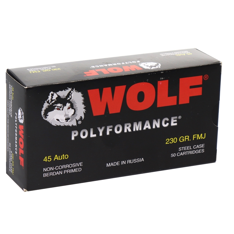 Wolf Polyformance 45 ACP AUTO Ammo 230 Grain FMJ Steel Case